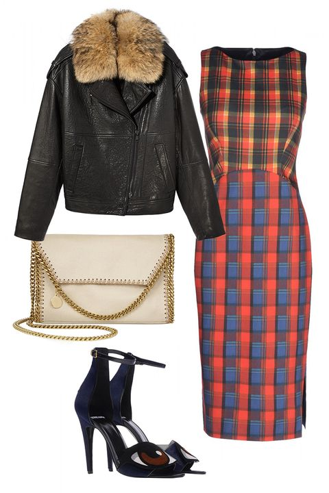 Product, Brown, Plaid, Jacket, Pattern, Textile, Tartan, Outerwear, White, High heels,