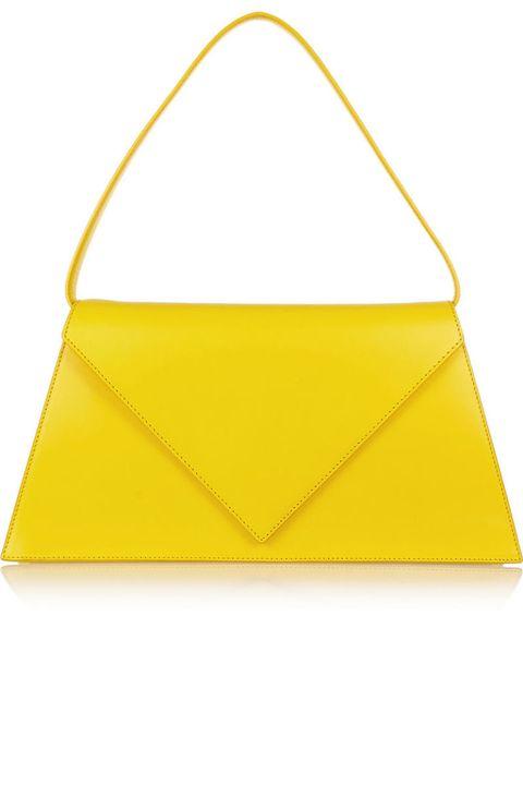 Yellow, Bag, Amber, Shoulder bag, Luggage and bags, Rectangle, Triangle, Leather, Handbag, Tote bag,
