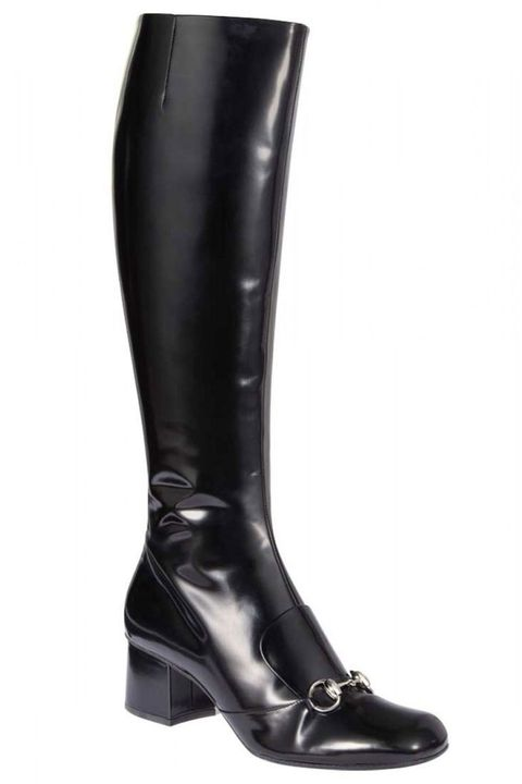 Boot, Leather, Black, Knee-high boot, Riding boot, Synthetic rubber,