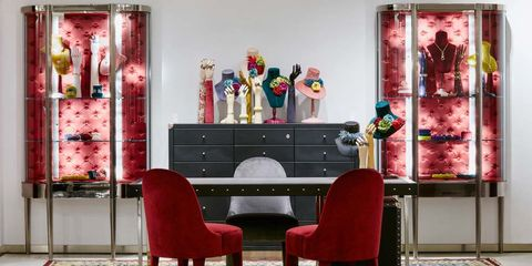 Room, Interior design, Drawer, Furniture, Red, Chest of drawers, Pink, Cabinetry, Interior design, Cupboard,