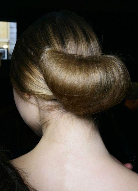 Ear, Hairstyle, Style, Back, Neck, Blond, Long hair, Earrings, Brown hair, Hair accessory,