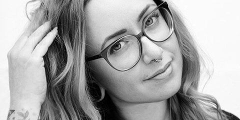 Eyewear, Glasses, Vision care, Lip, Eyebrow, Facial expression, Style, Organ, Beauty, Monochrome photography,