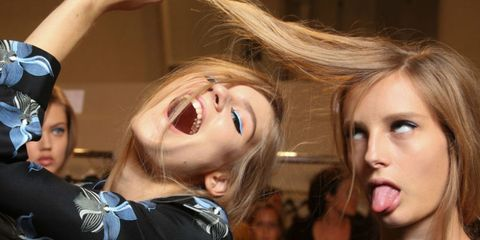 Hair, Face, Blond, Eyebrow, Mouth, Nose, Lip, Fun, Gesture, Selfie,