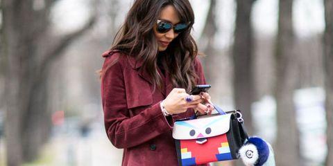 Eyewear, Glasses, Vision care, Goggles, Sunglasses, Outerwear, Coat, Street fashion, Bag, Fashion accessory,