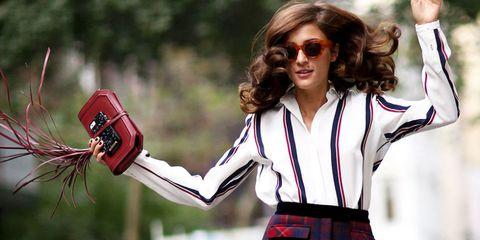 Eyewear, Plaid, Tartan, Sunglasses, Pattern, Uniform, Street fashion, Taxi, Belt, Kilt,