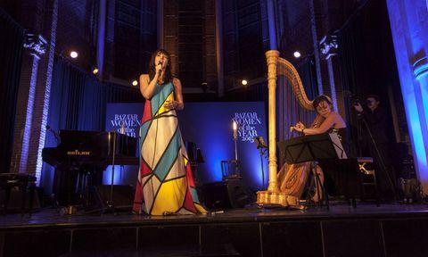 Harp, Musical instrument, Music, Stage, Musician, Performing arts, Music venue, Artist, Harpist, Performance,