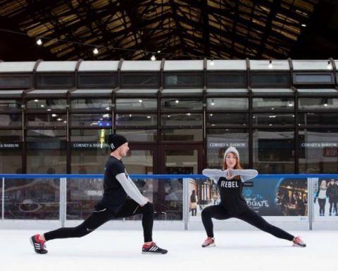 Footwear, Ice skate, Recreation, Active pants, Ice rink, Dance, Skating, Figure skate, Choreography, Dancer,