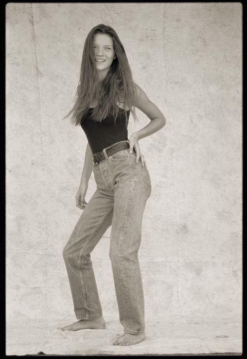 Photograph, Jeans, Standing, Denim, Beauty, Waist, Snapshot, Leg, Black-and-white, Long hair,