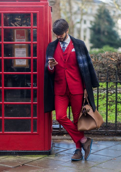 Clothing, Telephone booth, Red, Coat, Outerwear, Payphone, Communication Device, Blazer, Bag, Street fashion,