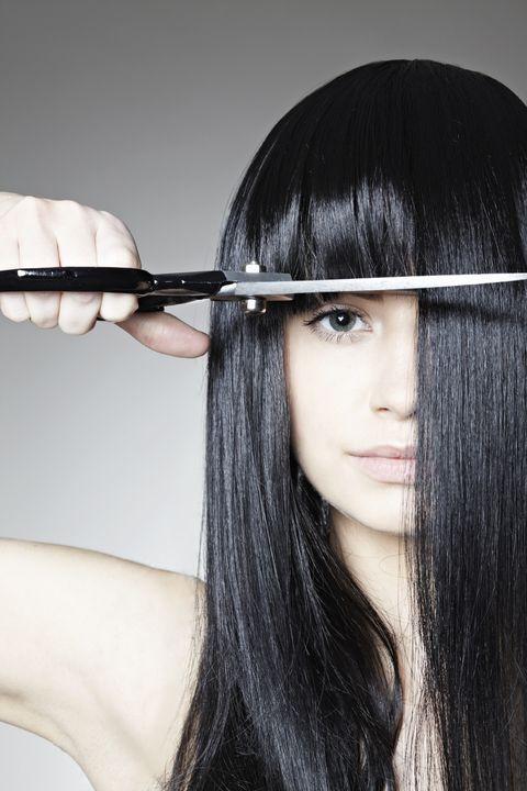 Lip, Hairstyle, Skin, Black hair, Bangs, Eyelash, Long hair, Beauty, Step cutting, Black,