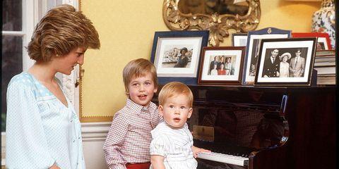 William, Harry en moeder Diana.