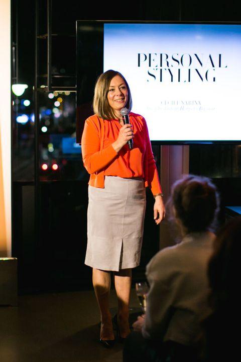 Pencil skirt, Employment, Blond, Waist, Job, Day dress, Public speaking, Layered hair, One-piece garment, High heels,