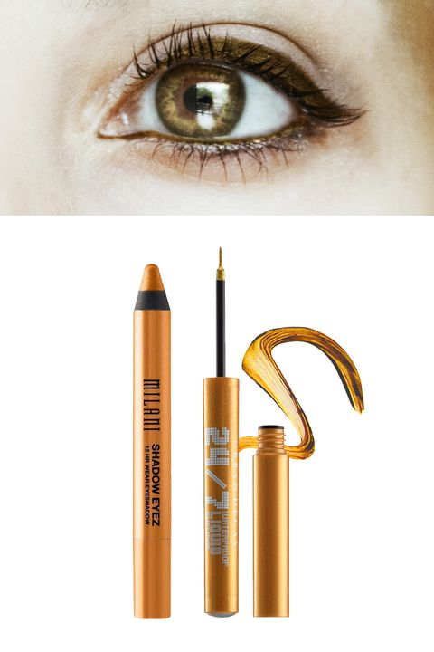 "<p>A warm metallic gold will accentuate the yellow flecks around the inner part of the iris, making them shimmer, and your eyes look even brighter.</p><p>Try: <a href=""http://www.yslbeautyus.com/dessin-du-regard-waterproof/497YSL.html?dwvar_497YSL_color=No1%20-%20Black%20Ink"" target=""_blank"">Yves Saint Lauren Dessin Du Regard Waterproof</a> <span class=""redactor-invisible-space""><a href=""http://www.yslbeautyus.com/dessin-du-regard-waterproof/497YSL.html?dwvar_497YSL_color=No1%20-%20Black%20Ink""></a>($30) or <a href=""http://www.urbandecay.com/24/7-waterproof-liquid-eyeliner/305.html"" target=""_blank"">Urban Decay 24/7 Waterproof Liquid Liner</a> ($19).</span></p>"