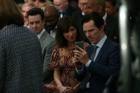 <p>Benedict Cumberbatch en zijn vrouw Sophie Hunter zaten ook in het publiek tijdens het evenement in Town Hall.</p>