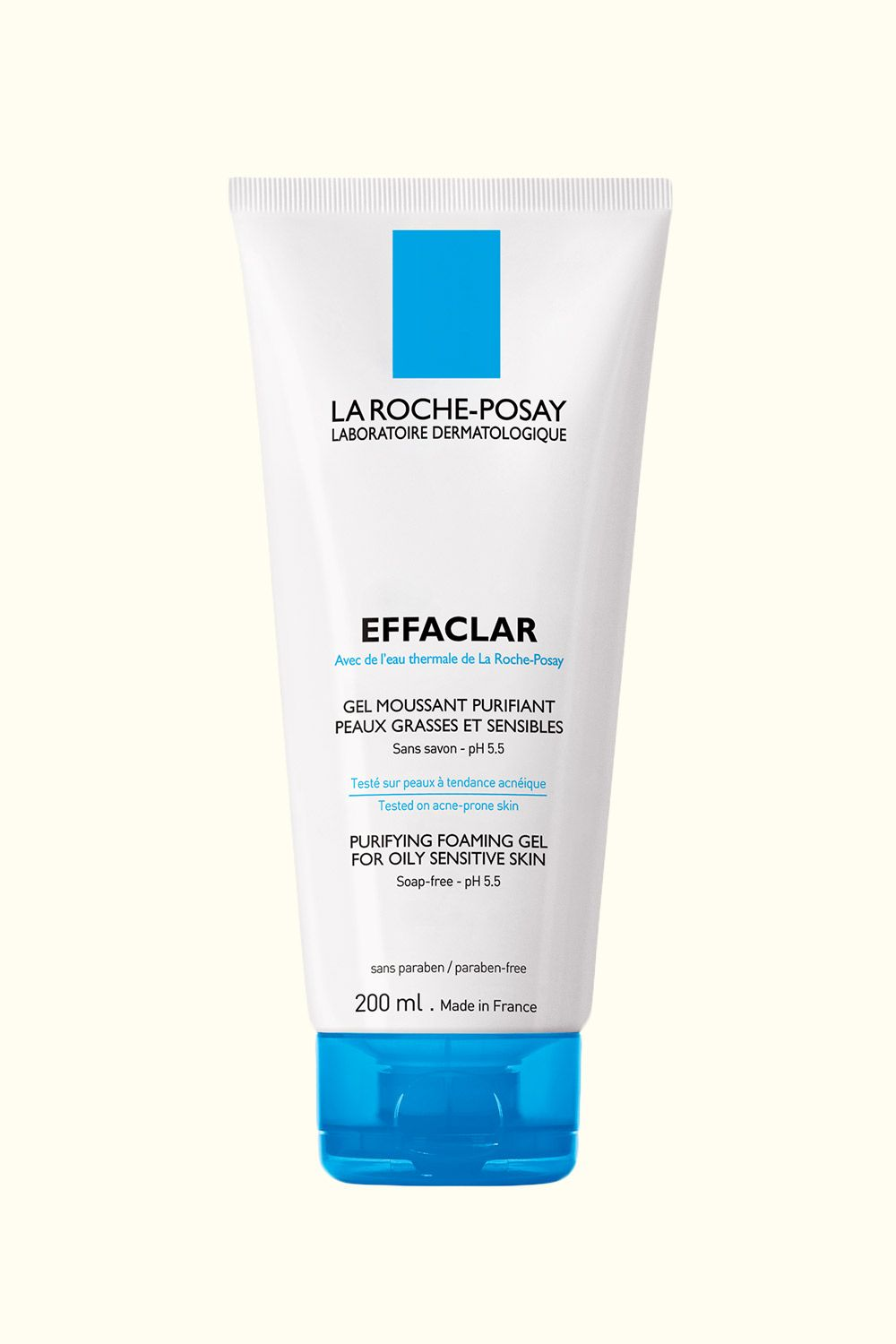 """<p>This thin gel cleanser is super gentle, yet effective for soothing irritation and clearing up breakouts without drying out the skin. Not to mention, it will get rid of every last remnant of makeup.</p><p>La Roche-Posay Effaclar Purifying Foaming Gel Cleanser, $14.99; <a href=""""http://bit.ly/1V81Exf"""" target=""""_blank"""">amazon.com</a>.<br></p>"""