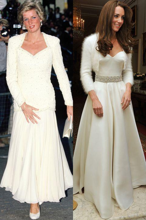 <p><strong>Diana </strong>in 1988. <br><strong>Kate </strong>in april 2011, voor de receptie van haar bruiloft.</p>