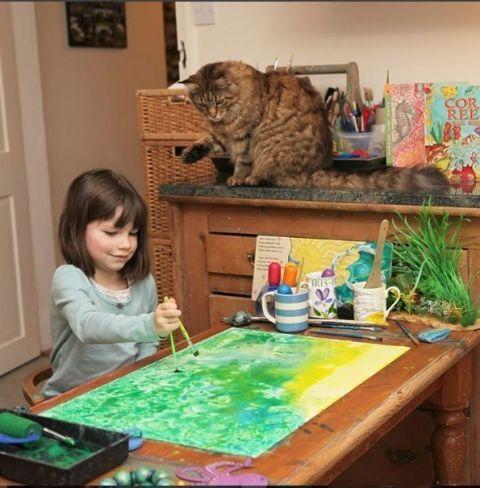 Small to medium-sized cats, Felidae, Carnivore, Cat, Door, Paint, Interior design, Majorelle blue, Picture frame, Art paint,