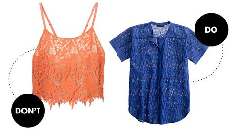<p>Ladies, lace belongs in the bedroom or for a night out when you are trying to get someone to see your street lace so later you can show them bedroom lace. It is not for the office. True, a thin airy fabric helps to keep you cool but it is a bit much for a professional environment. Instead, try something eyelet, which still has just as much texture and is quite porous but with a more tame disposition sort of like a horse vs. a pony.</p>