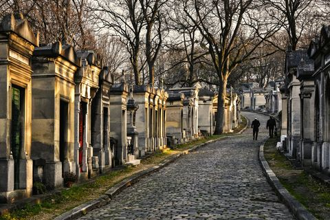 "<p>The largest cemetery within the city of Paris, <a href=""http://en.parisinfo.com/paris-museum-monument/71470/Cimetiere-du-Pere-Lachaise"" target=""_blank"">Père Lachaise</a> houses the graves of several notable writers, composers, and entertainers, including Oscar Wilde, Edith Piaf, Frédéric Chopin, Sarah Bernhardt, Marcel Marceau, Honore de Balzac, Marcel Proust, and even Jim Morrison.</p>"