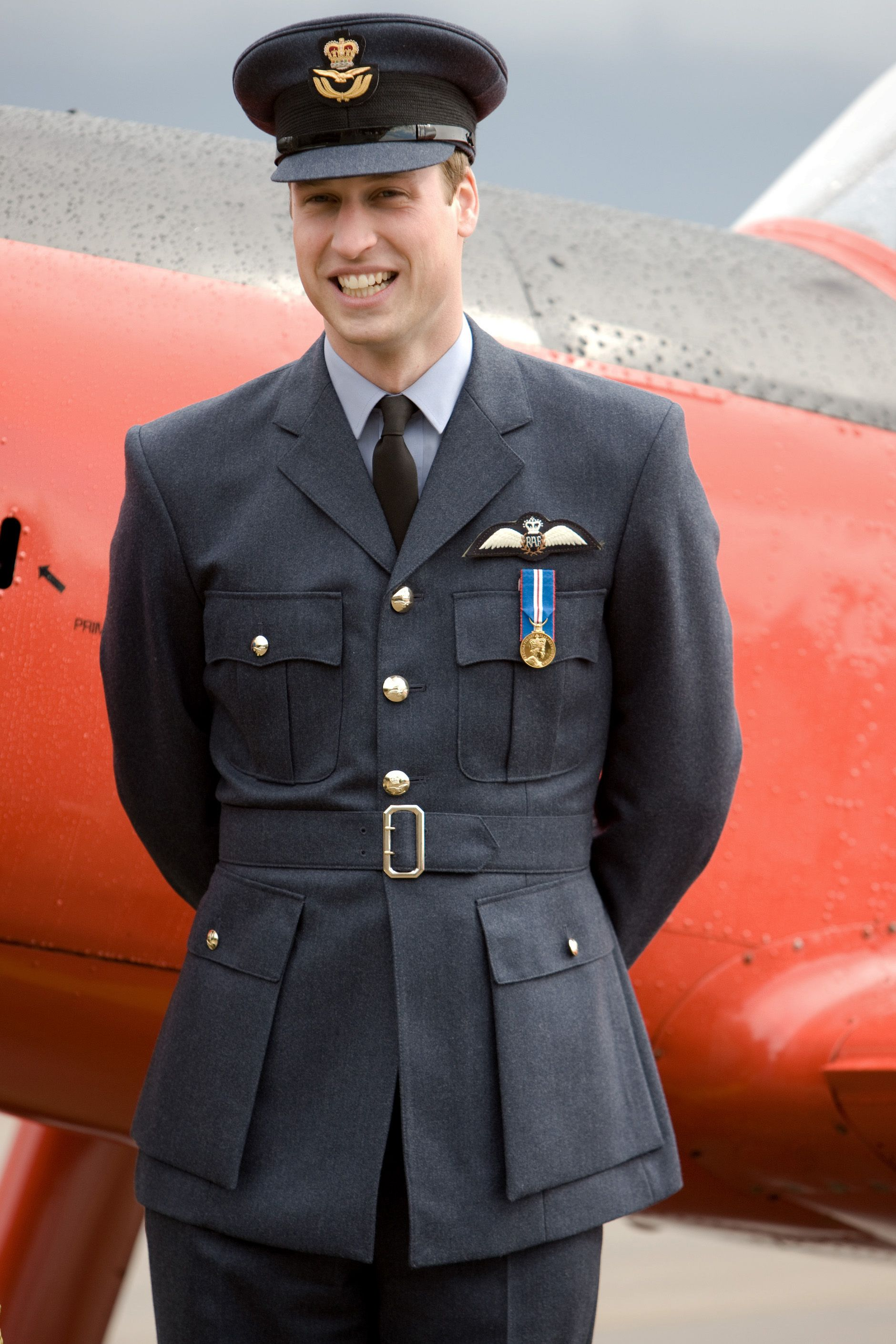 LINCOLNSHIRE, ENGLAND - APRIL 11: After receiving his RAF wings in a graduation ceremony, Prince William inspects the aircraft and helicopters at the Central Flying School at RAF Cranwell, in Sleaford on April 11, 2008 in Lincolnshire, England. (Photo by Tim Graham/Getty Images) *** Local Caption *** Prince William
