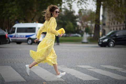 Clothing, Road, Road surface, Sunglasses, Street, Asphalt, Dress, Street fashion, Auto part, Sidewalk,