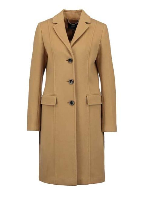 Clothing, Coat, Brown, Collar, Sleeve, Khaki, Textile, Standing, Outerwear, Formal wear,
