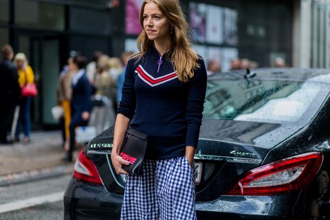 <p>Gingham might now be the Taylor Swift of prints, but with an athletic half-zip, it's Scandi cool. </p>