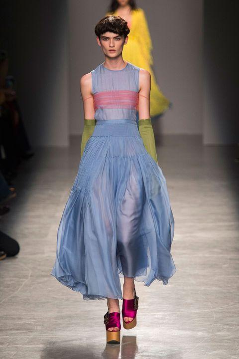Blue, Shoulder, Fashion show, Dress, Purple, Style, Magenta, One-piece garment, Fashion, Fashion model,