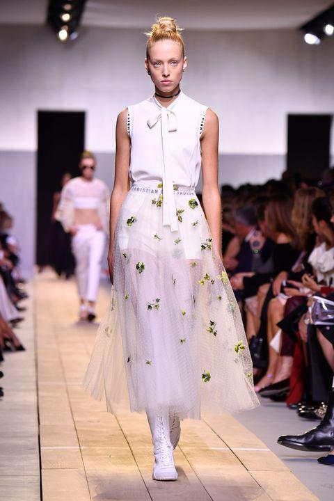Clothing, Fashion show, Event, Shoulder, Runway, Outerwear, Fashion model, Style, Dress, Fashion,
