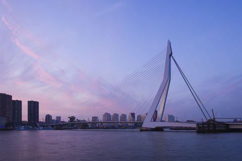 Cable-stayed bridge, Sky, Suspension bridge, Bridge, Waterway, Metropolitan area, Urban area, Horizon, City, Extradosed bridge,