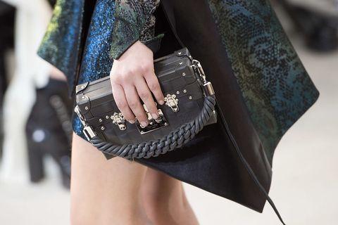 Wrist, Waist, Fashion accessory, Fashion, Street fashion, Bag, Bracelet, Leather, Nail, Abdomen,