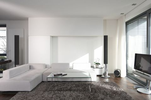 Living room, Furniture, Room, Interior design, Property, Building, Floor, House, Black-and-white, Table,