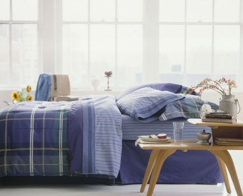 Room, Textile, Linens, Furniture, Bedding, Interior design, Bed sheet, Bedroom, Home accessories, Tartan,