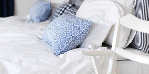 Blue, Textile, Room, Bedding, Linens, Bed sheet, Azure, Bedroom, Grey, Electric blue,