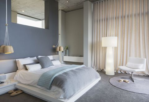 Bedroom, Furniture, Room, Bed, Interior design, Property, Bed sheet, Bed frame, Curtain, Wall,