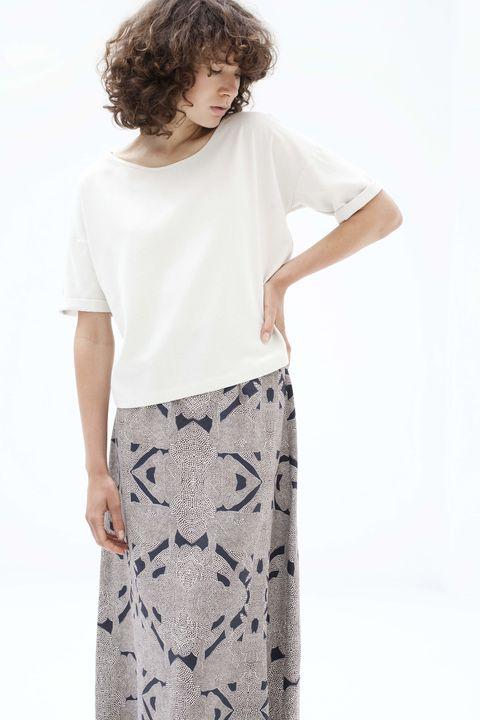 Clothing, White, Pencil skirt, Waist, T-shirt, Neck, Sleeve, Dress, Shoulder, Joint,