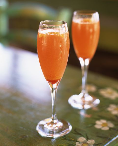 "<p><span class=""redactor-invisible-space""><a href=""http://www.epicurious.com/recipes/food/views/passion-fruit-mimosa-102808"" target=""_blank"">Not your</a> standard OJ drink. </span></p><p><strong>Ingredients:</strong></p><p>1 cup Chilled Champagne</p><p><span></span>1/2 cup Chilled Passion-fruit Nectar or Juice</p><p><strong>Directions:</strong></p><p>Divide champagne between two glasses and top off each drink with nectar or juice (3 to 4 tablespoons).<span></span></p>"