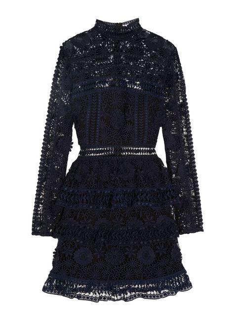Sleeve, Collar, Textile, Pattern, Style, Fashion, Black, Embellishment, One-piece garment, Day dress,