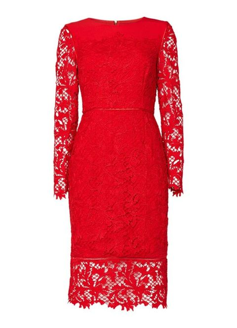 Dress, Sleeve, Textile, Red, Pattern, One-piece garment, Formal wear, Carmine, Fashion, Day dress,