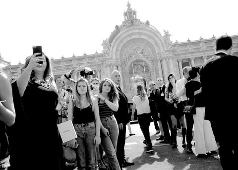 PARIS, FRANCE - JULY 07:  (EDITORS NOTE: Image has been converted to black and white) A general view outside the Chanel show as part of Paris Fashion Week Haute Couture Fall/Winter 2015/2016 at The Grand Palais on July 7, 2015 in Paris, France.  (Photo by Gareth Cattermole/Getty Images)