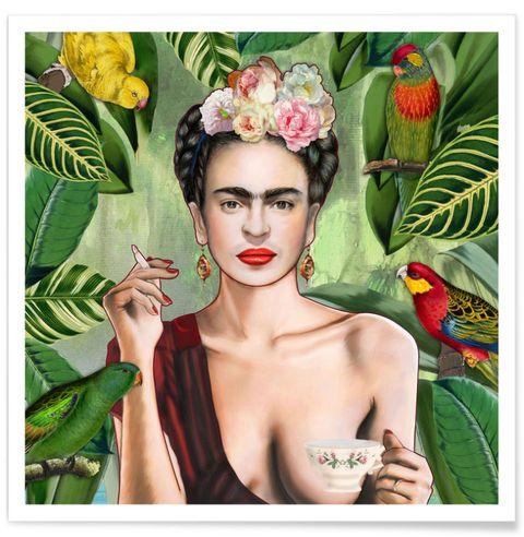 """<p>Frida Kahlo in een nieuw jasje. Knap staaltje werk van Annette Feldmann en een van onze favorieten. Vanaf € <span class=""""redactor-invisible-space"""">11, verkrijgbaar via <a href=""""https://society6.com/product/frida-con-amigos_print#s6-4337868p4a1v45"""" target=""""_blank"""">Society6</a> shop.</span></p>"""