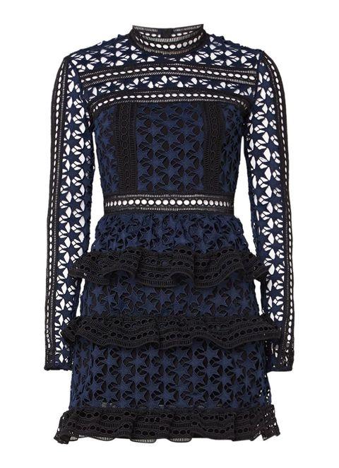 Blue, Textile, Pattern, Style, Dress, Fashion, Neck, Black, Electric blue, Cobalt blue,