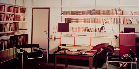 Furniture, Room, Interior design, Building, Desk, Bed, Office, Table, Bookcase, Shelving,