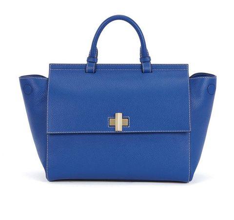 Handbag, Bag, Blue, Cobalt blue, Fashion accessory, Electric blue, Tote bag, Leather, Birkin bag, Material property,