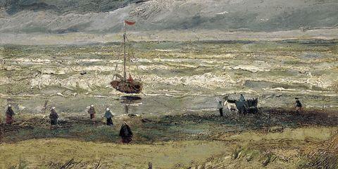 Art, Working animal, Bovine, Boat, Watercolor paint, Painting, Artwork, Wave, Art paint, Illustration,