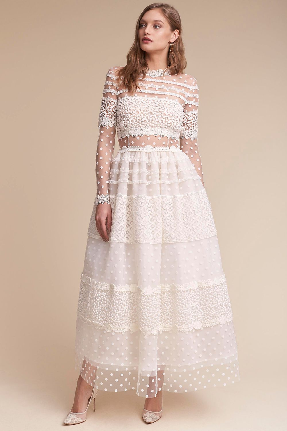 """<p>This Swiss-dot meringue poufof a dress is also called the""""Keaton."""" So you have to get it.</p><p>$3,600, <a href=""""http://www.bhldn.com/shop-the-bride-wedding-dresses/keaton-gown/productOptionIDS/fbcaeb8b-b90b-4e9a-9313-32da085940dd"""" target=""""_blank"""" data-tracking-id=""""recirc-text-link"""">bhldn.com</a>.</p>"""