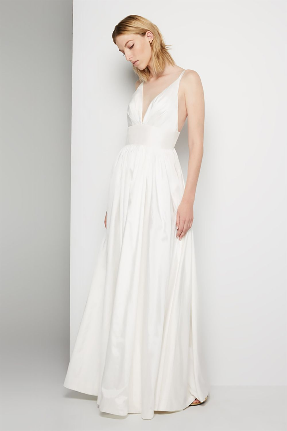 """<p>You might've looked into the online retailer because they let you pick out colors and customize necklines and skirts. They do that for their newly launched wedding category too, which includes this ultra-flattering spaghetti-strap number.</p><p>$239, <a href=""""https://www.fameandpartners.com/dresses/dress-astrid-814?color=white"""" target=""""_blank"""" data-tracking-id=""""recirc-text-link"""">fameandpartners.com</a>.</p>"""