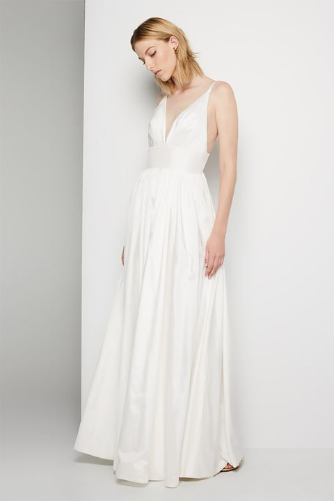"""<p>You might've looked into the online retailer because they let you pick out colors and customize necklines and skirts. They do that for their newly launched wedding category too, which includes this ultra-flattering spaghetti-strap number.&nbsp;</p><p>$239, <a href=""""https://www.fameandpartners.com/dresses/dress-astrid-814?color=white"""" target=""""_blank"""" data-tracking-id=""""recirc-text-link"""">fameandpartners.com</a>.</p>"""