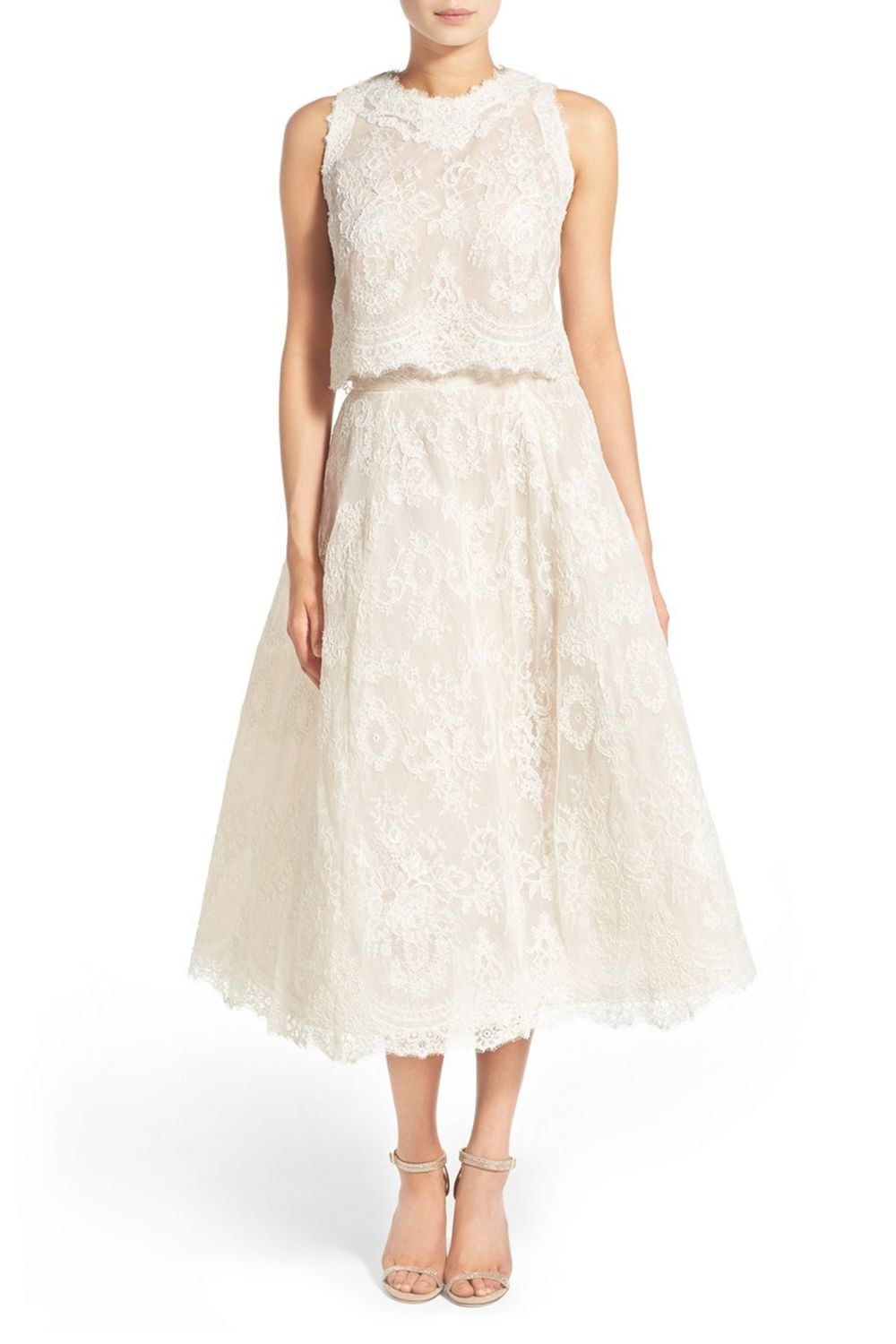 """<p>Everybody likes a two-fer, and everybody likes an Audrey Hepburn reference even more.</p><p>$2,208, <a href=""""http://shop.nordstrom.com/s/embrdrd-lace-crop-top-skirt/4247466?origin=category-personalizedsort&fashioncolor=SILK%20WHITE%2F%20NUDE"""" target=""""_blank"""" data-tracking-id=""""recirc-text-link"""">shop.nordstrom.com</a>.</p>"""