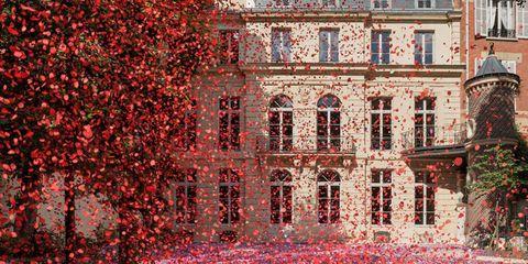 Red, Landmark, Architecture, Wall, Tree, Facade, Building, Symmetry, Plant, Brick,